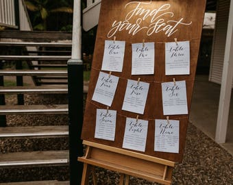 Find Your Seat Sign | Seating Chart | Wedding Seating Chart | Table Chart | Wooden Wedding Sign | Guest Seating Chart | Engagement