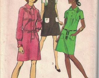 Simplicity 8934 Vintage Pattern Womens Mini Dress in 3 Variations Size 12 Bust 34 UNCUT