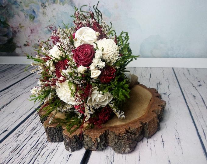 Medium rustic woodland wedding BOUQUET burgundy deep red wine sola dried preserved flower greenery cypress cedar rose Burlap Lace natural