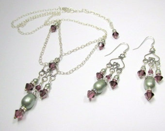 Victorian Style Necklace and Earring Set in Swarovski Amethyst Crystals and Powder Green Pearls