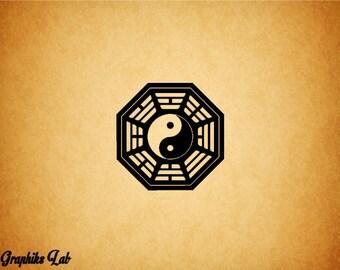 Bagua Yin and Yang Vinyl Decal Zen Initiative Ba Gua Vinyl Decal