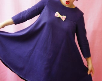 Cotton Winter 3/4 sleeves , Autumn large size dress plus, Comfortable and Handmade