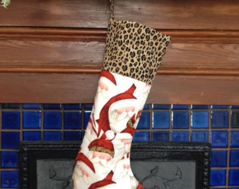 Santa Wears a leopard hat Christmas Stocking