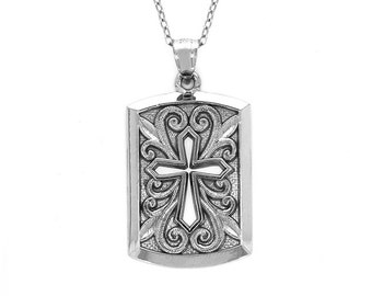 "sterling silver cross dog tag pendant on an 18"" silver cable chain. religious jewelry."