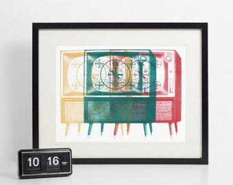 Retro TV Art Print, Vintage Home Decor, Midcentury Screen Print Test Pattern, Television