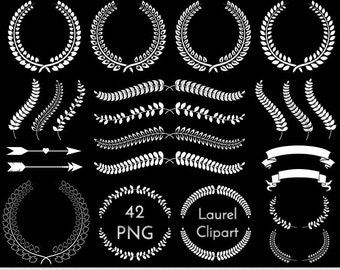 Laurel Clipart Laurel Clip Art Wreath Clipart Wreath Clip Art Wedding Laurel Clipart Invitations Laurel Clipart