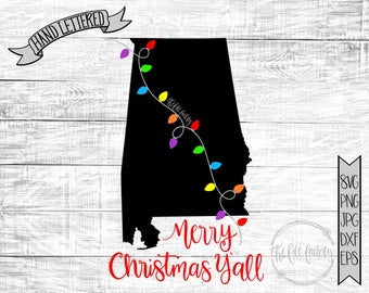 Merry Christmas Y'all Alabama Christmas Lights SVG / Merry Christmas Y'all Cut File and Printable / Commercial Use