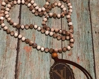Beaded Necklace with Repurposed LV Pendant and Tassel