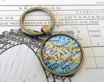 Italy Keychain, Keyring, Antiqued Brass Key Chain, Made with Love, Comes in a Cool Gift Box