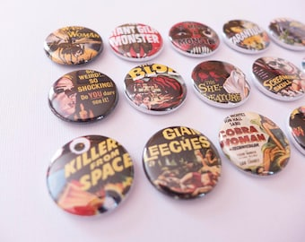 B Movie Pins or Magnets, One Inch Horror Movie Buttons