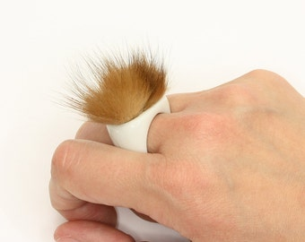 Ring - Porcelain and Fox Fur