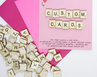 Custom Made Scrabble Letter Card - Personalised Card - Celebration - Snail Mail