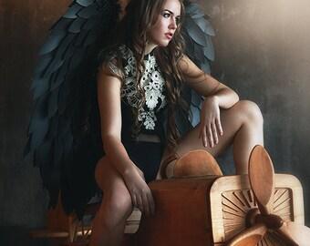 Black cosplay wings, angel wings, form N9