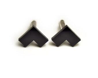 Minimal Black L cufflinks matte/glossy gift for him groomsman