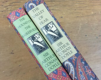Sherlock Holmes Books ~ Sir Arthur Conan Doyle ~ The Valley of Fear & The Hound of Baskervilles ~ Hardcover Book of the Month Club