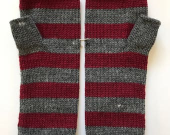 Fingerless mittens stripe USA made wool charcoal grey and cranberry red