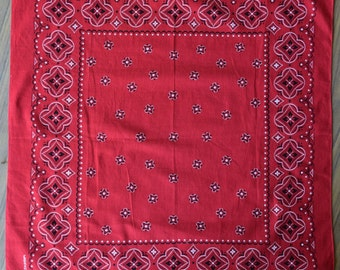 60s Red Washfast Colors Folkloristic Print Bandana NOS / Dead Stock