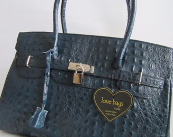 Blue Shoulder bag with Croco Print