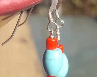 blue howlite and red african trade bead sterling silver earrings
