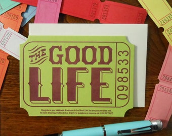 letterpress the good life ticket retirement greeting card grean purple cream raffle carnival ticket