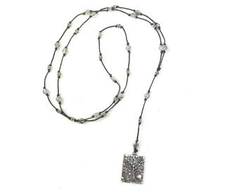 Long Length Leather Cord Square Tree Of Life Necklace