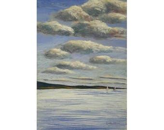 Original pastel painting. Seascape painting. Silver sea painting.  Nature painting. Cloud painting.