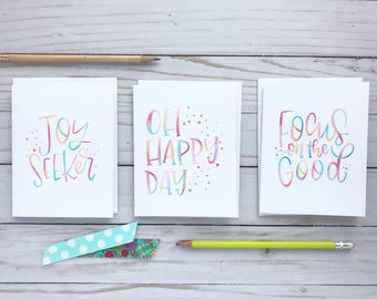 Hand Lettered 4x5 Encouragement Blank Note Cards, Joy Seeker, Oh happy Day, Focus on the Good, Be the Good, Choose Joy, Inspirational