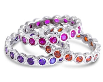 Stacking Rings Stacking Rings Set 3 Pieces Solid Sterling Silver Ring 925 Orange Purple Pink Rings Set Stackable Size 6 7 8 9