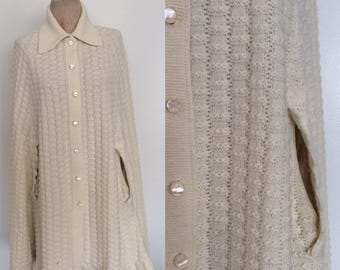 1970's White Knit Sweater Cape a Size All by Maeberry Vintage