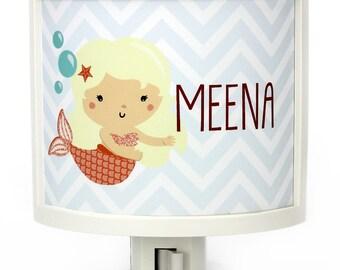 Personalized Blonde Mermaid customizable night light childrens nightlights nursery mermaids nightlight gift for baby shower gifts under 25