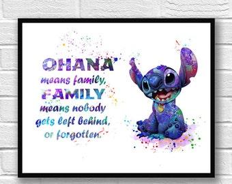 Stitch Watercolor Print, Lilo and Stitch, Disney Art, OHANA Watercolor, Movie Poster, Kids Room Decor, Nursery, Wall Art, Home Decor - 286