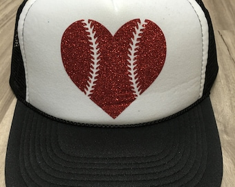 Baseball Heart Trucker Hat Heart with Laces Trucker Hat Baseball Season Baseball Trucker Hat Womens Trucker Hat