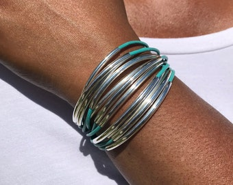 Turquoise Leather Cuff Bracelet | Leather Jewelry | Cuff Bracelet | Silver Tube Beads | Multi Strand Bangle | Noodle Tubes | Magnetic