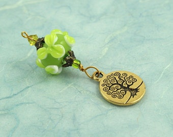 Blessingway bead - Spring Leaves Golden Tree of Life - Mother Blessing bead, mama goddess