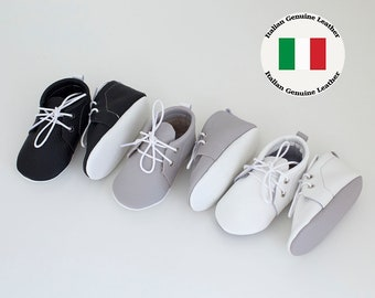Baby leather booties with shoelaces sole Newborn, infant, toddler soft shoes