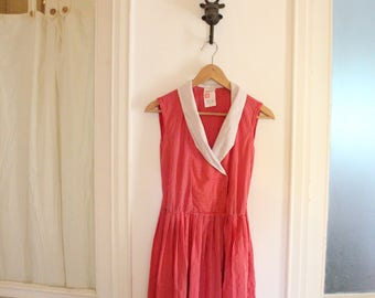 1980s sleeveless red stripes collar Wrap Double Breasted Dress