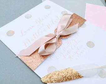 Rose Gold Glitter Wedding Invitation Wrap Belly Bands