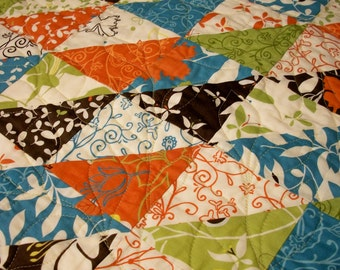 Butterfly Quilt Triangles Chrysalis Orange Turquoise Green Brown Quilted Quiltsy Handmade FREE U.S. Shipping