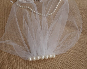 Ivory Pearl Veil Tulle Birdcage Veil Vintage Style Petite Veil Mini Illusion Tulle Veil  Birdcage Vintage Style Veil Mini Blusher Wedding