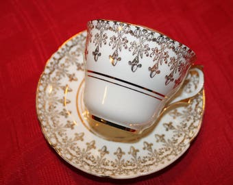 Vintage Ivory and Gold Tea Cup Regency English Bone  Tea Set White Wedding Table Bridal Tea Party