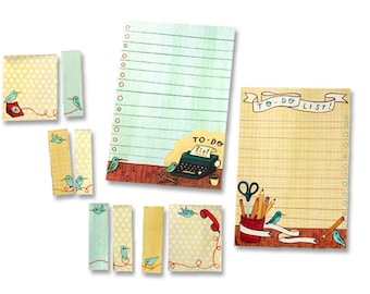 KEEPING TABS productivity portfolio by Susie Ghahremani - bird telephone typewriter themed to do lists, sticky notes and page flags