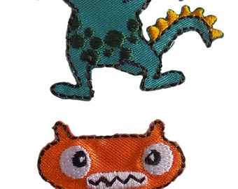 Pack of 2 Monsters Embroidered Iron On Appliques