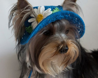 """Hat for dogs """"Daisy"""", Crochet Dog Hat, Dog Party Hat, Dog Sun Hat, Small Dog Hats, Top Hats For Dogs"""