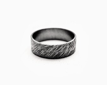 Ripples Ring - Silver Couple Ring - Men's Wedding Band - Ring for Him, Wedding Band for Him, Rustic Wedding Band - Alternative Wedding Band
