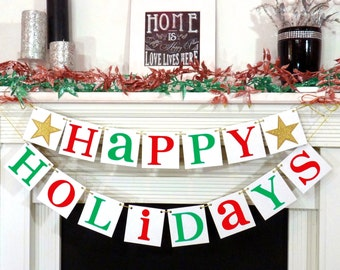 Happy Holidays Sign - Christmas Banner - Merry Christmas banner - Photo Prop - Holiday Decor - Christmas Decor - Gold Star Family Photos