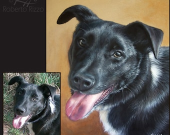 Custom Fine Art Pet Portrait | Original Painting on Commission Realized by the Artist Roberto Rizzo