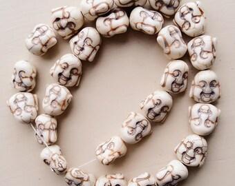 1 Strand White Turquoise Beads, Double Sided Smiling Buddha Face, 14mm