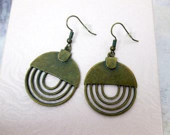 Vintage Style Circle Earrings Rustic Boho Earrings Spiral Drop Earrings Verdigris Earrings Patina Earrings Statement Earrings Bohemian Gypsy