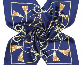 Scarf , Square Neck Scarf , Women Scarf , Gifts for Her - Belts & Links Bewitching Blue Scarf