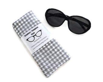 Eyeglass Case or Sunglass Case, Soft Padded Fabric Sunglass or Eyeglass Holder, Gray Houndstooth, Gift for Women